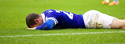 LIVERPOOL, ENGLAND - Saturday, February 1, 2014: Everton's Ross Barkley looks dejected after missing a chance against Aston Villa during the Premiership match at Goodison Park. (Pic by David Rawcliffe/Propaganda)