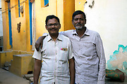 KADIRI, INDIA - 01st November 2019 - Portrait two locals to Kadiri standing for their photograph to be taken, Andhra Pradesh, South India.