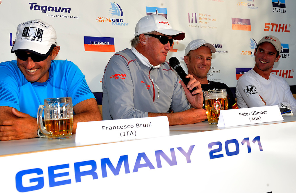 Peter Gilmour at the skippers press conference after day 5. Photo: Chris Davies/WMRT