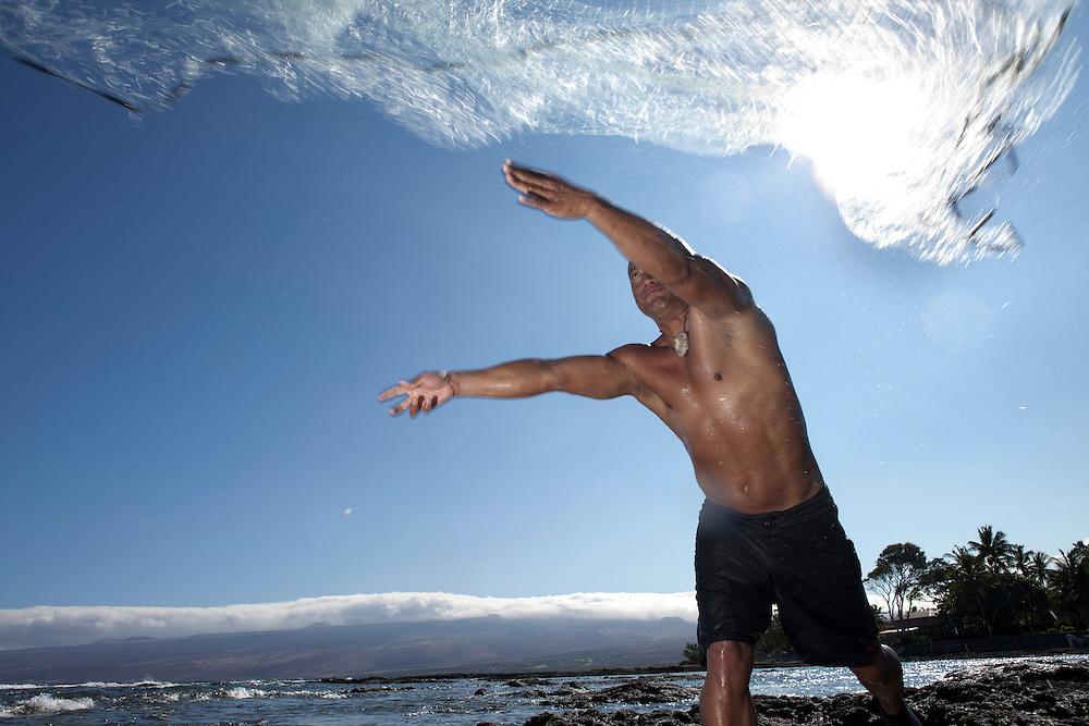 Net fisherman, Kawika Auld, early moring on Puako coastline, Lalamilo ahupuaa, South Kohala, Big Island, Hawaii, access 116
