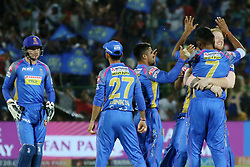 May 8, 2018 - Jaipur, Rajasthan, India - Rajasthan Royals team players celebrate the wicket  during the IPL T20 match against Kings XI Punjab at Sawai Mansingh Stadium in Jaipur,Rajasthan,India on 8th May,2018.(Photo By Vishal Bhatnagar/NurPhoto) (Credit Image: © Vishal Bhatnagar/NurPhoto via ZUMA Press)