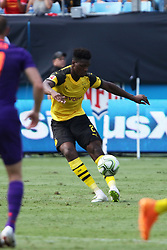 July 22, 2018 - Charlotte, NC, U.S. - CHARLOTTE, NC - JULY 22: Dan-Axel Zagadou (2) od Borussia Dortmund kicks the ball during the International Champions Cup soccer match between Liverpool FC and Borussia Dortmund in Charlotte, N.C. on July 22, 2018. (Photo by John Byrum/Icon Sportswire) (Credit Image: © John Byrum/Icon SMI via ZUMA Press)