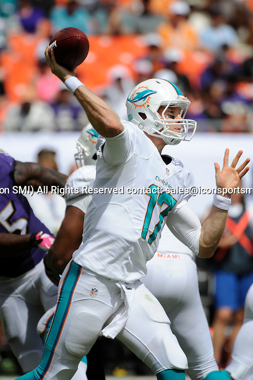 October 06, 2013: Miami Dolphins Quarterback Ryan Tannehill (17) throws the ball during the NFL football game between the Baltimore Ravens and the Miami Dolphins at Sun Life Stadium in Miami Gardens, Florida. The Ravens defeated the Dolphins 26-23.
