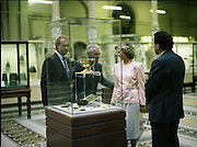 State Visit of King Juan Carlos and Queen Sophia of Spain to Ireland.<br /> 1986.<br /> 30.06.1986<br /> 06.30.1986.<br /> 30th June 1986.<br /> King Juan Carlos and Queen Sophia paid a state visit to Ireland at the invitation of President Hillery and the Irish people.<br /> The duration of the visit was three days.<br /> <br /> While at the museum The Royal Couple were pictured viewing the world famous Ardagh Chalice. In 1868,Patrick Flanagan,digging potatoes on the land of James Quinn,uncovered the artifact.He was rewarded for his find with a £10 note,a large sum in those days. The Chalice is reputed to have come from the monastery at Clonmacnoise and is said to have been made about the 8th century. How the Chalice made its way from Clonmacnoise,near Athlone to Ardagh in Limerick remains a mystery.