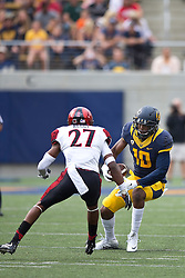 BERKELEY, CA - SEPTEMBER 12:  Wide receiver Darius Powe #10 of the California Golden Bears is pursued by defensive back Kameron Kelly #27 of the San Diego State Aztecs during the third quarter at California Memorial Stadium on September 12, 2015 in Berkeley, California. The California Golden Bears defeated the San Diego State Aztecs 35-7. (Photo by Jason O. Watson/Getty Images) *** Local Caption *** Darius Powe; Kameron Kelly