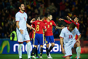 "GRANADA, SPAIN - NOVEMBER 12:  Victor Machin Perez ""Vitolo"", Koke Resurreccion and Thiago Alcantara of Spain celebrates after scoring with his team mates during the FIFA 2018 World Cup Qualifier between Spain and FYR Macedonia at  on November 12, 2016 in Granada, .  (Photo by Aitor Alcalde Colomer/Getty Images)"