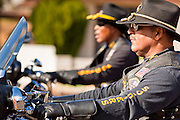 16 JANUARY 2012 - MESA, AZ:  African-American men on motorcycles participate in the parade on Martin Luther King Day in Mesa, AZ, Monday, Jan. 16. Hundreds of people participated in the parade which marched through downtown Mesa.   PHOTO BY JACK KURTZ