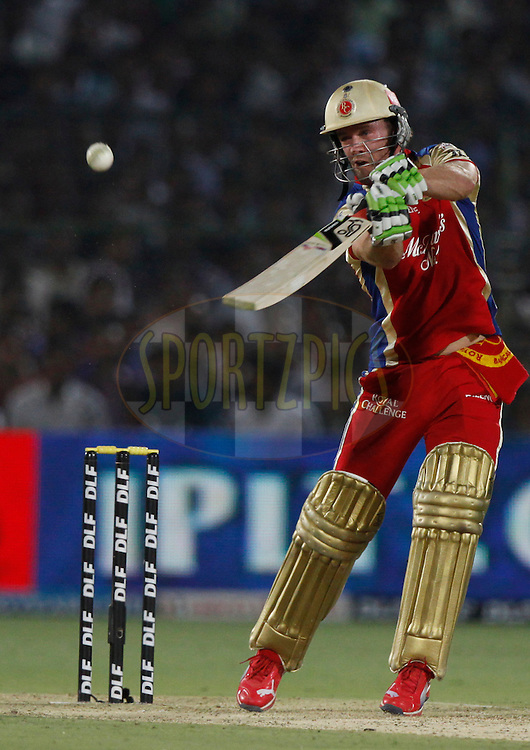 Royal Challengers Bangalore player AB De Villiers play a shot during match 30 of the the Indian Premier League ( IPL) 2012  between The Rajasthan Royals and the Royal Challengers Bangalore held at the Sawai Mansingh Stadium in Jaipur on the 23rd April 2012..Photo by Pankaj Nangia/IPL/SPORTZPICS