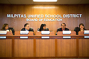 The Milpitas Unified School District and San Jose Evergreen Community College District to discuss the proposed jointly operated 21st Century Education Center at the Milpitas Unified School District Board Room in Milpitas, California, on March 11, 2014. (Stan Olszewski/SOSKIphoto)