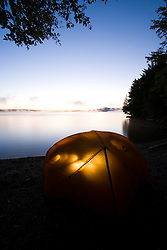 Camping on Sugar Island on Moosehead Lake Maine USA