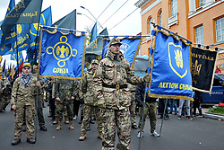 October 14, 2017 - Kiev, Kiev, Ukraine -  Activists and supporters of Ukrainian nationalist parties march to celebrate the 75th anniversary of the creation of the Ukrainian Insurgent Army  (Credit Image: © Alexandr Gusev/Pacific Press via ZUMA Wire)