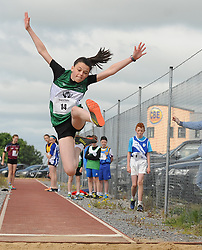 High Flyer&hellip; Ava Flynn from Castlebar  competing in the Girls U14 Long Jump at the Mayo Community Games finals in Claremorris on sunday.<br />