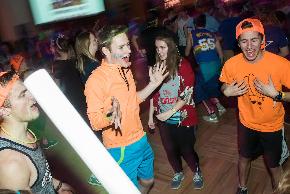 Gonzaga students host a Dance Marathon benefiting Sacred Heart Childrens Hospital on Saturday February 6, 2016.  Families with children who have used the services of the hospital were invited to share their stories and join in on the festivities at the Hemmingson Ballroom.  Austin Ilg photo.