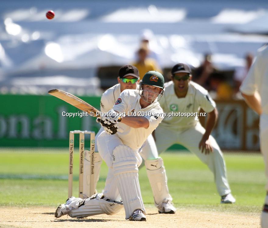 Australia's Phil Hughes hits a six.<br /> 1st cricket test match - New Zealand Black Caps v Australia, day five at the Basin Reserve, Wellington. Tuesday, 23 March 2010. Photo: Dave Lintott/PHOTOSPORT