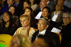 """Norman Mineta, center, and his wife Danealia at the CAAM Film Festival's world premiere of """"An American Story: Norman Mineta and His Legacy"""" at the Castro Theatre, Thursday, May 10, 2018 in San Francisco, Calif. (D. Ross Cameron/SF Chronicle)"""