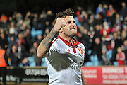 Sheffield United forward Billy Sharp celebrates his goal to go 1-0 up  during the Sky Bet League 1 match between Scunthorpe United and Sheffield Utd at Glanford Park, Scunthorpe, England on 19 December 2015. Photo by Ian Lyall.