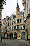 Facade of Art Nouveau building in Riga, Latvia