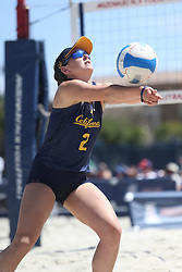 April 7, 2018 - Tucson, AZ, U.S. - TUCSON, AZ - APRIL 07: California Golden Bears Iya Lindahl (2) hits the ball during a college beach volleyball match between the California Golden Bears and the Arizona Wildcats on April 07, 2018, at Bear Down Beach in Tucson, AZ. Arizona defeated California 3-2. (Photo by Jacob Snow/Icon Sportswire (Credit Image: © Jacob Snow/Icon SMI via ZUMA Press)
