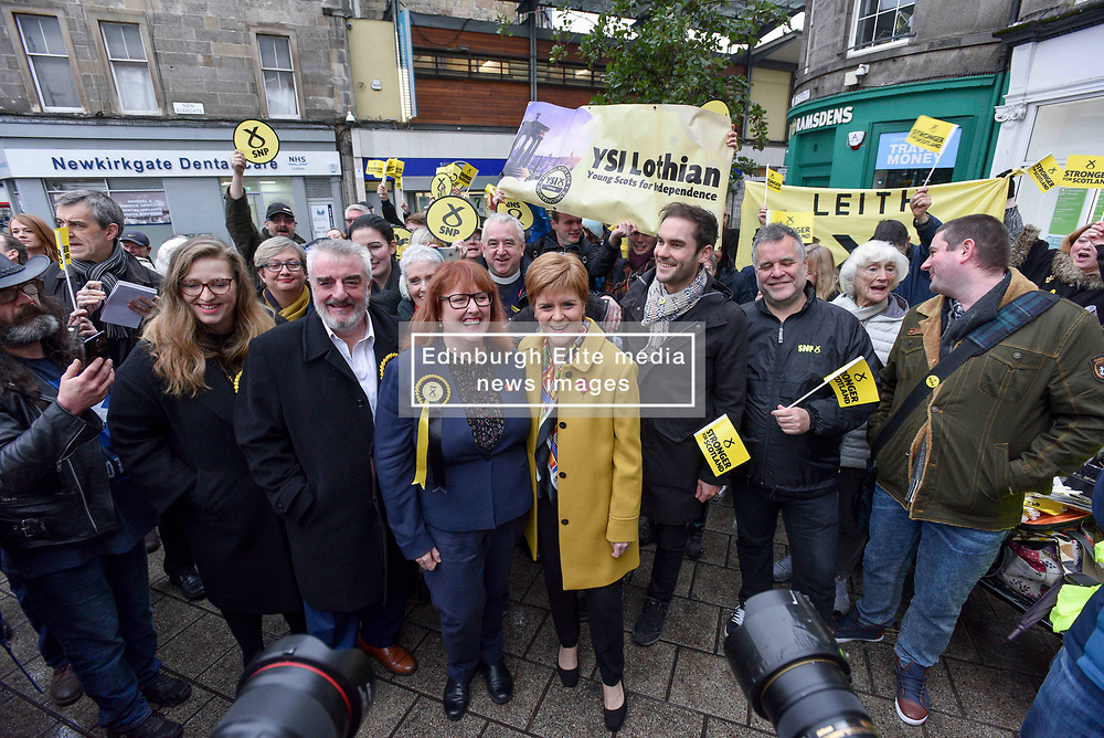 SNP leader Nicola Sturgeon campaigned in Leith, Edinburgh with SNP candidate for Edinburgh North and Leith Deirdre Brock.<br /> <br /> © Dave Johnston / EEm