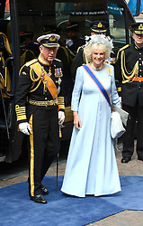 Duchess of Cornwall and Britain's Prince Charles of Wales arrive to attend the inauguration of King Willem-Alexander of the Netherlands at Nieuwe Kerk (New Church) in Amsterdam on April 30, 2013. Photo by: Schneider-Press / i-Images. .UK & USA ONLY. .