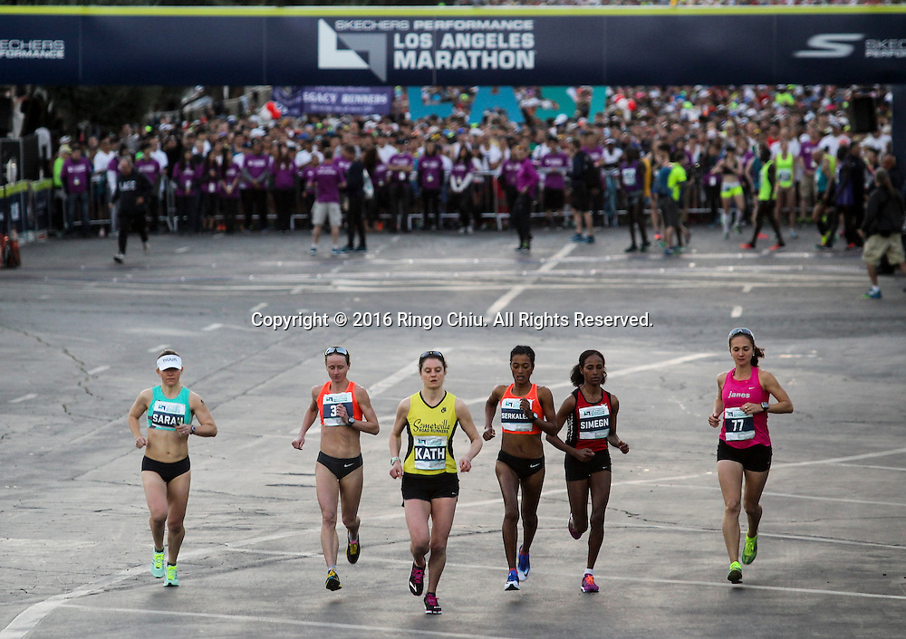 Winner Nataliya Lehonkova, 2nd left, of the Ukraine, and other elite women runners take off from Dodger Stadium during the 31st Los Angeles Marathon in Los Angeles, Sunday, Feb. 14, 2016. The 26.2-mile marathon started at Dodger Stadium and finished at Santa Monica.  (Photo by Ringo Chiu/PHOTOFORMULA.com)<br /> <br /> Usage Notes: This content is intended for editorial use only. For other uses, additional clearances may be required.