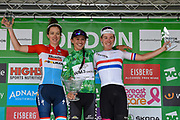 Katarzyna Niewiadoma (POL) riding for WM3 Pro Cycling (centre) is the overall winner, with Christine Majors (LUX) (left) riding for  Boels Dolmans Cycling Team (second), and Hannah Barnes (GBR) riding for Canyon/SRAM Racing third at the OVO Energy Women's Tour, London Stage, at Regent Street, London, United Kingdom on 11 June 2017. Photo by Martin Cole.