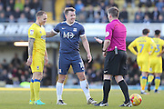 AFC Wimbledon defender & captain Barry Fuller (2), Southend United striker Simon Cox (10) laugh with Ref Lee Collins during the EFL Sky Bet League 1 match between Southend United and AFC Wimbledon at Roots Hall, Southend, England on 26 December 2016. Photo by Stuart Butcher.