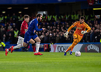 Football - 2018 / 2019 Emirates FA Cup - Fifth Round: Chelsea vs. Manchester United <br /> <br /> Gonzalo Higuain (Chelsea FC)  races to beat Sergio Romero (Manchester United) to the loose ball at Stamford Bridge<br /> <br /> COLORSPORT/DANIEL BEARHAM