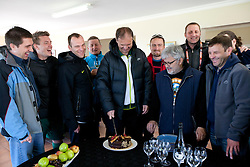 Denis Sabadin, Matjaz Krajnik, Miha Kosorog, Danilo Steyer, Ivan Simic, Rok Plestenjak, Branko Vekic, Rok Tamse, Sandi Skvarc with a cake after the friendly match between Slovenian football journalists and officials of Slovenian football federation at  Hyde Park High School Stadium on June 16, 2010 in Johannesburg, South Africa.  (Photo by Vid Ponikvar / Sportida)