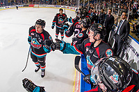 KELOWNA, CANADA - OCTOBER 10:  Kyle Topping #24 of the Kelowna Rockets celebrates a goal with fist bumps past the bench against the Seattle Thunderbirds on October 10, 2018 at Prospera Place in Kelowna, British Columbia, Canada.  (Photo by Marissa Baecker/Shoot the Breeze)  *** Local Caption ***