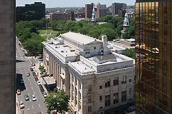 New Haven Green, Courthouse on Elm and the Gold Building as seen from the Roof of the New Haven County Courthouse on Church Street. Vantage Point and Weather, great!