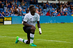 NUNEATON, ENGLAND - Saturday, July 29, 2017: Liverpool's Toni Gomes kneels on the ground during a pre-season friendly between Liverpool and Coventry City at the Liberty Way Stadium. (Pic by Paul Greenwood/Propaganda)