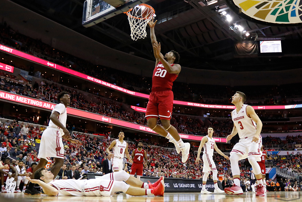 Indiana forward De'Ron Davis (20) in action as Indiana played Wisconsin in an NCCA college basketball game in the third round of the Big 10 tournament in Washington, D.C., Friday, March 10, 2017. (AJ Mast)