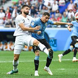 Olivier Giroud of France and Jose Gimenez of Uruguay during 2018 FIFA World Cup Quarter Final match  between France and Uruguay at Nizhniy Novgorod Stadium on July 6, 2018 in Nizhniy Novgorod, Russia. (Photo by Anthony Dibon/Icon Sport)