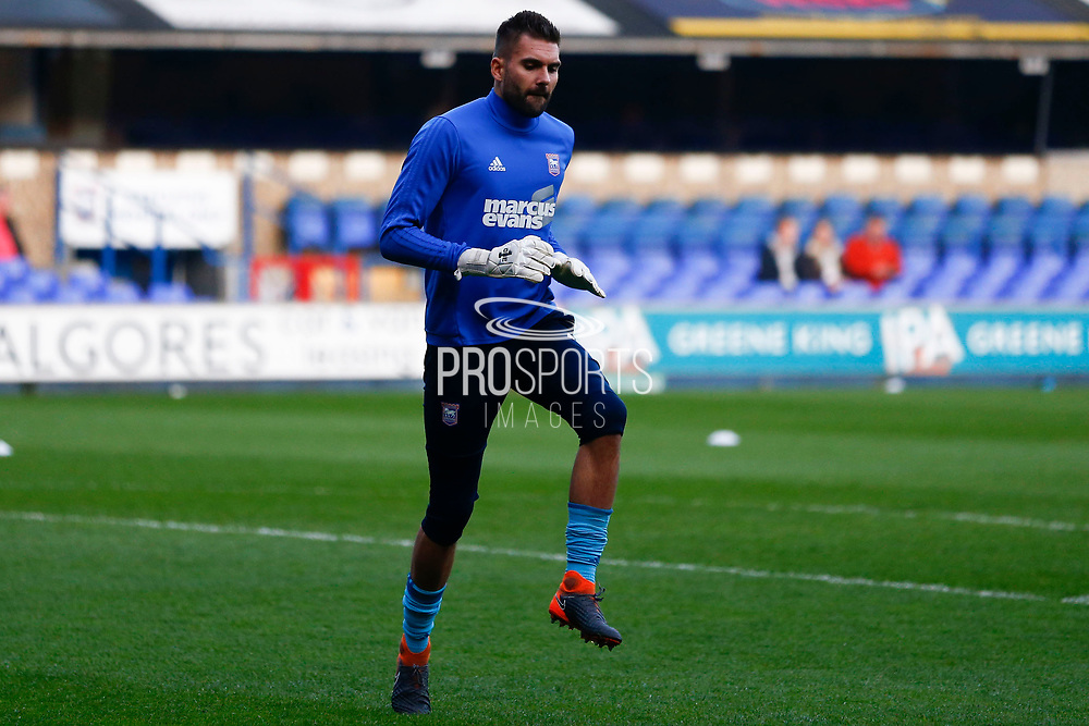 Ipswich Town goalkeeper Bartosz Bialkowski (33) warming up ahead of the EFL Sky Bet Championship match between Ipswich Town and Barnsley at Portman Road, Ipswich, England on 10 April 2018. Picture by Phil Chaplin.