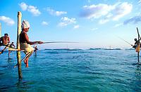 Sri Lanka - Cote Sud -  Région de Weligama - Pecheurs sur échasses