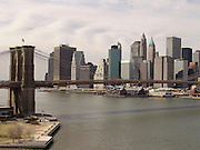 Brooklyn Bridge with downtown Manhattan in the background.