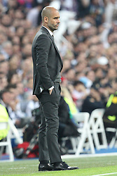 23.04.2014, Estadio Santiago Bernabeu, Madrid, ESP, UEFA CL, Real Madrid vs FC Bayern Muenchen, Halbfinale, Hinspiel, im Bild Trainer Pep Guardiola (Fc Bayern Muenchen) // during the UEFA Champions League Round of 4, 1st Leg Match between Real Madrid vs FC Bayern Munich at the Estadio Santiago Bernabeu in Madrid, Spain on 2014/04/24. EXPA Pictures © 2014, PhotoCredit: EXPA/ Eibner-Pressefoto/ Kolbert<br /> <br /> *****ATTENTION - OUT of GER*****