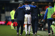 Queens Park Rangers defender James Perch (24) injured during the Sky Bet Championship match between Queens Park Rangers and Brighton and Hove Albion at the Loftus Road Stadium, London, England on 15 December 2015.