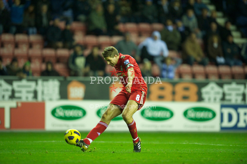 WIGAN, ENGLAND - Wednesday, November 10, 2010: Liverpool's captain Steven Gerrard MBE in action against Wigan Athletic during the Premiership match at the DW Stadium. (Photo by David Rawcliffe/Propaganda)
