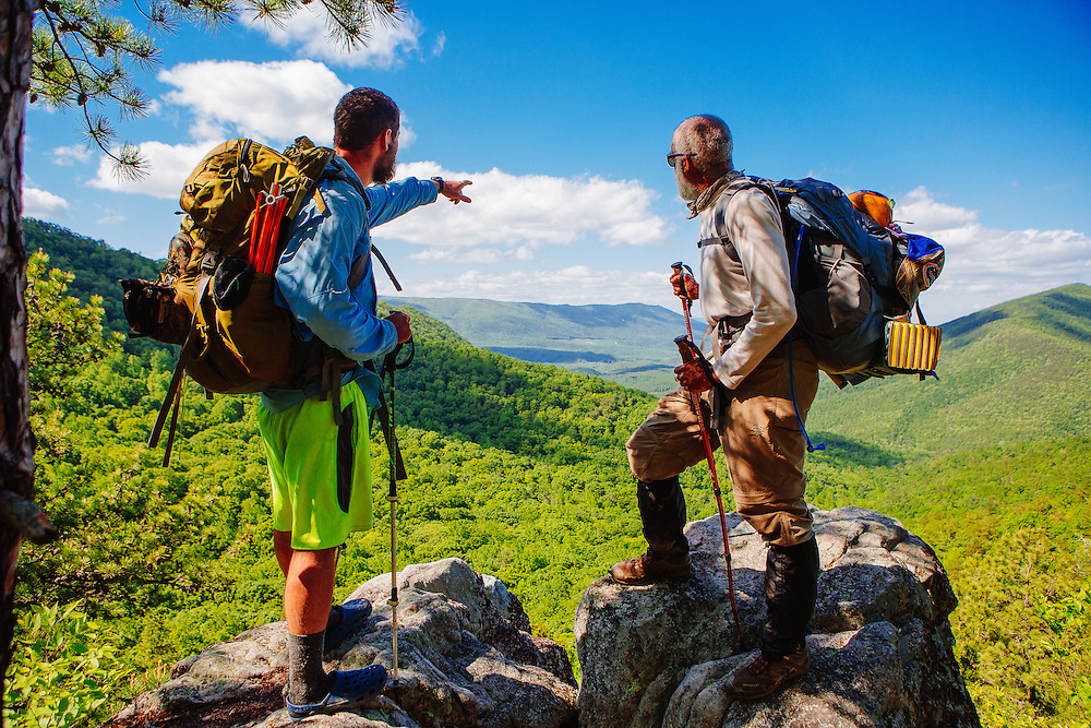 Two Appalachian Trail Thru-hikers near Dragonstooth outside Roanoke, Virginia.