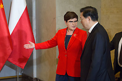 July 13, 2017 - Warsaw, Poland - Prime Minister of Poland Beata Szydlo and Chairman of the Standing Committee of the National People's Congress Zhang Dejiang at Chancellery of the Prime Minister in Warsaw, Poland on 13 July 2017  (Credit Image: © Mateusz Wlodarczyk/NurPhoto via ZUMA Press)