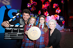 Repro Free: 04/11/2014 <br /> Eoghan McDermot and Sinead Kennedy are pictured with Hannagh Mahony and  Hannagh Brady of St Cronin's Junior National School  Swords winner of a highly commended award for best Junior Film &quot;The Fish Who Cried Shark&quot; at the 10th annual FIS Film Festival witch took place in the Helix DCU. FIS is an initiative of the Department of Education and Skills and coordinated by the PDST and the Dun Laoighaire IADT. Picture Andres Poveda
