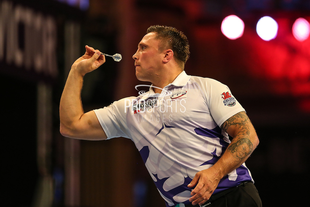 Gerwyn Price during the First Round of the BetVictor World Matchplay Darts at the Empress Ballroom, Blackpool, United Kingdom on 19 July 2015. Photo by Shane Healey.