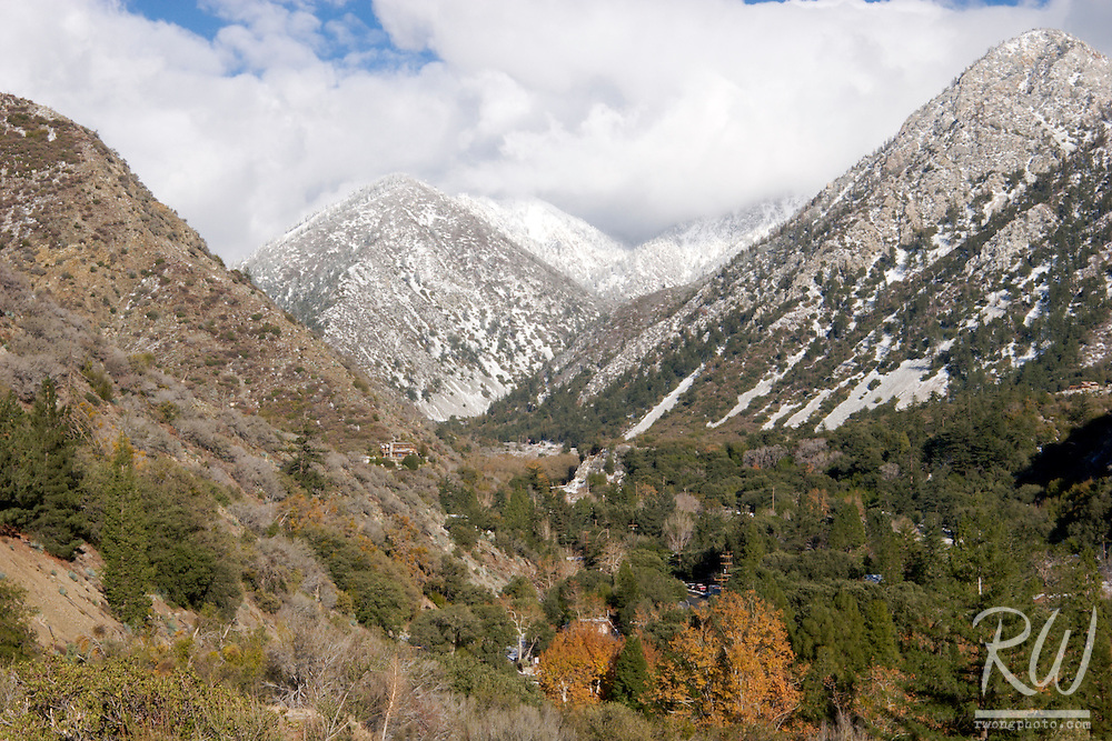 Mount Baldy Village After First Winter's Snow, Southern California
