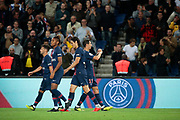 Angel Di Maria (PSG) scored a goal and celebrated it , Edinson Roberto Paulo Cavani Gomez (El Matador) (El Botija) (Florestan) (PSG), Christopher Alan NKUNKU (PSG), Eric-Maxim Choupo-Moting (PSG) during the French Championship Ligue 1 football match between Paris Saint-Germain and AS Saint-Etienne on September 14, 2018 at Parc des Princes stadium in Paris, France - Photo Stephane Allaman / ProSportsImages / DPPI