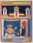 Brahma, Hindu 'Absolute', receiving an offering. Brahma first in the Hindu divine triad, the others being Vishnu and Shiva. After 18th century Indian miniature.