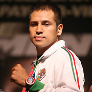 Boxer Marco Antonio Periban poses onstage during the undercard final press conference for the Mayweather & Maidana boxing match at the Hollywood Theater, inside the MGM Grand hotel on Thursday, May 1, 2014 in Las Vegas, Nevada.  (AP Photo/Alex Menendez)