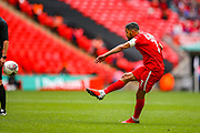 Leyton Orient midfielder Jobi McAnuff (7) shoots towards the goal during the FA Trophy final match between AFC Flyde and Leyton Orient at Wembley Stadium on 19 May 2019.