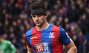 Scott Dann sports some headwear during the Barclays Premier League match between Crystal Palace and Liverpool at Selhurst Park, London, England on 6 March 2016. Photo by Michael Hulf.
